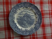 two hand engraved English Village plates in Kingwood, Texas